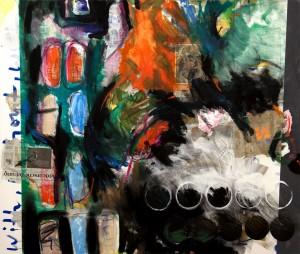 Kali rennt, Collage und Mixes Media auf Nessel, 2012, 165x185cm