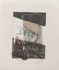 Decoy, Enkaustikcollage, 1991, 35 x 45 cm