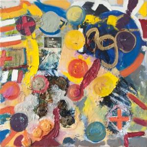 EGO, Collage mit Öl und Lakritze, 2001, 80 x 80 cm