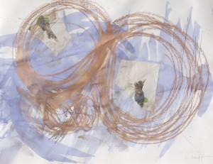 Glove from above, Collage auf Bütten, 2013, 65 x 85 cm