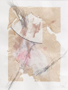 O. T., Collage mit Fächer, 2015, 50 x 85 cm