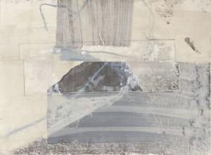 O. T., Enkaustik und Druckcollage, 1990, 45 x 55 cm