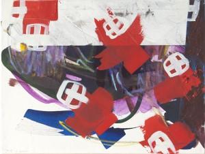Rotes Kreuz, Öl auf Leinwand, 2008, 65 x 90 cm