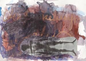 Verdunkelungsgefahr, Collage auf Papier, 2014, 45 x 55 cm