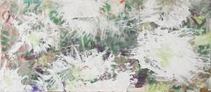 ZEIT, Collage mit Enkaustik auf Nessel, 2010, 85 x 150 cm