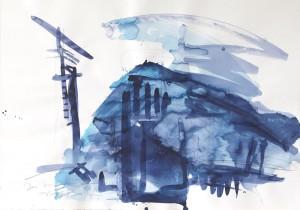 das Haus mit dem Kreuz, Leipziger Zeichentusche auf Fabriano, 2009, 70 x 100 cm