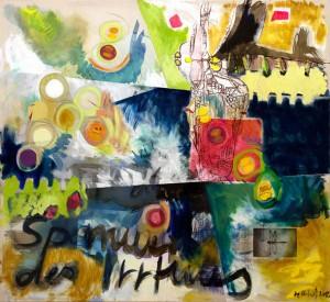 Über die Spannbreite des Irrtums, Mixed Media auf Nessel, 2012, 180x165cm