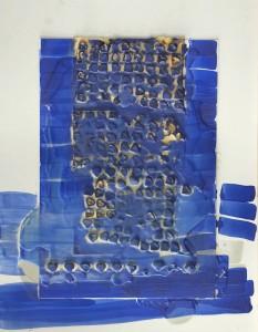 O.T., Wachsgusskoerper auf Pappe, 1995, 80x105cm